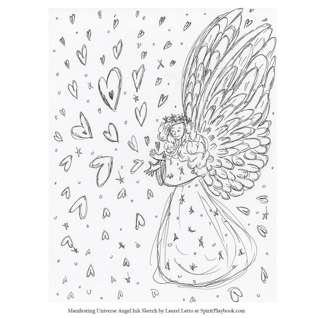 Manifesting Universe Angel Art Ink Sketch Drawing
