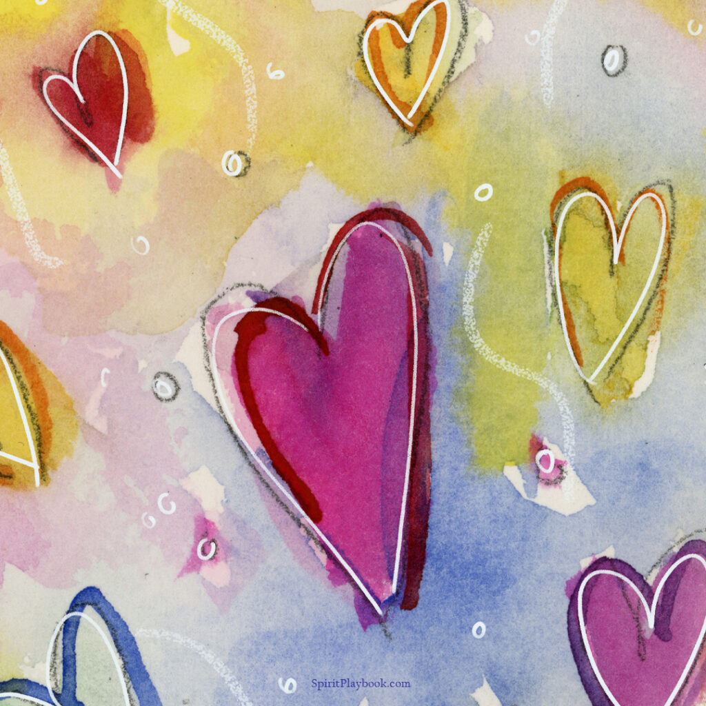 Manifesting Universe Angel Watercolor Painting - Hearts Detail
