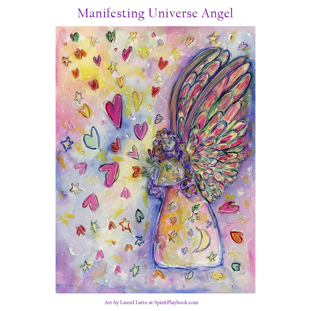 Manifesting Universe Angel Art Watercolor Painting
