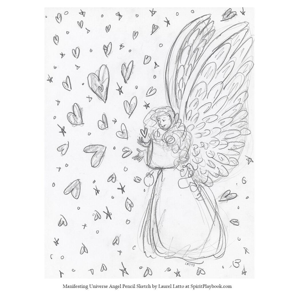 Manifesting Universe Angel Pencil Sketch Drawing
